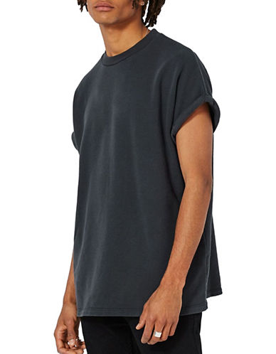 Topman Short-Sleeved Sweatshirt-WASHED BLACK-Large