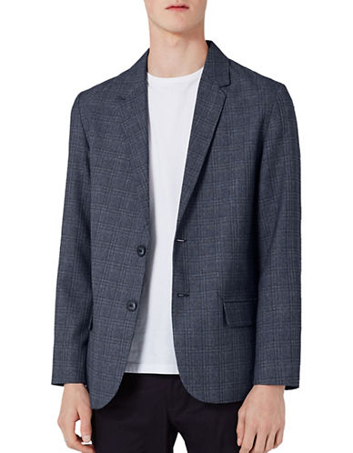 Topman Basket Weave Checked Sports Jacket-BLUE-36