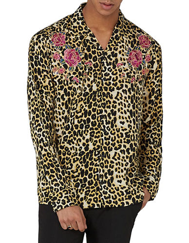Topman Classic Fit Leopard Print Embroidered Shirt-YELLOW-Small