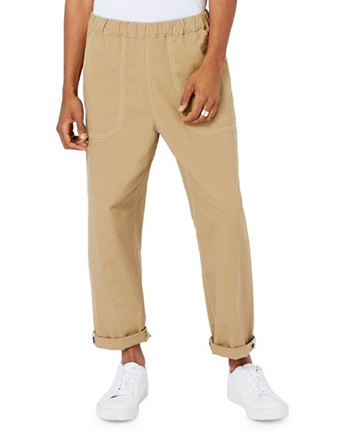 Topman LTD Stone Elasticated Rolled Hem Chinos-STONE-X-Small
