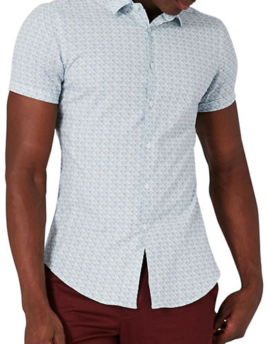 Topman Wave Print Sport Shirt-BLUE-Large