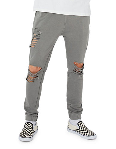 Topman Washed Ripped Joggers-BLACK-Small