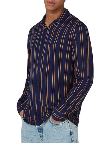 Topman Classic Fit Striped Revere Shirt-BLUE-X-Large