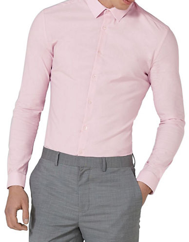 Topman Textured Muscle Fit Sport Shirt-PINK-X-Small