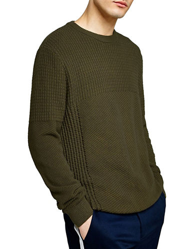 Topman Slim Fit Stitch Sweater-KHAKI-X-Small