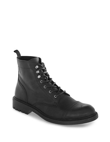 Topman Harvey Leather Toecap Boots-BLACK-42