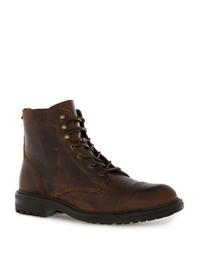 Topman Harvey Leather Toecap Boots-BROWN-43