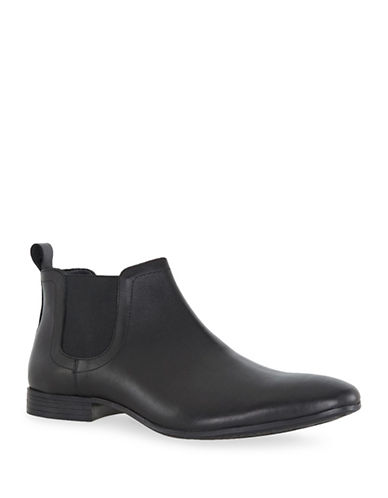 Topman Reggie Leather Chelsea Boots-BLACK-40