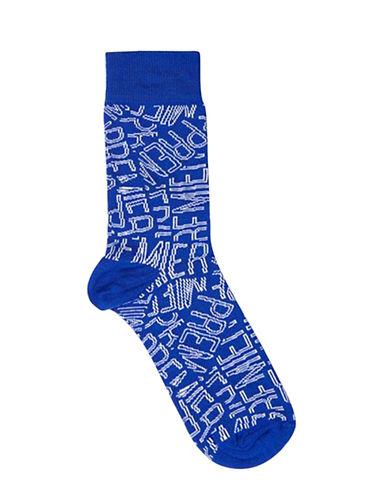 Topman Premier Text Socks-BLUE-One Size