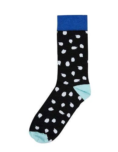 Topman Mens Warped Polka Dot Socks-BLACK-One Size