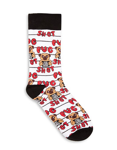 Topman Pug Shot Socks-WHITE-One Size
