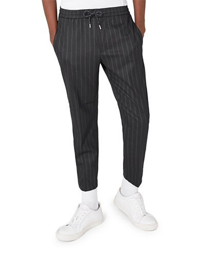 Topman Pinstripe Cropped Smart Joggers-DARK BLUE-32 Long