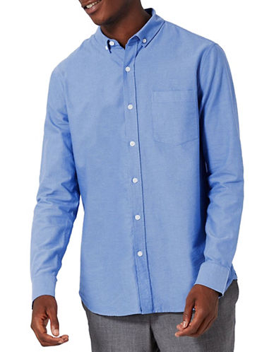 Topman Button-Down Oxford Shirt-BLUE-X-Large