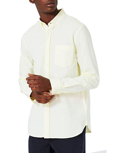 Topman Button-Down Oxford Shirt-YELLOW-X-Large