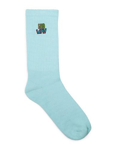 Topman No Way Badge Tube Socks-TURQUOISE-One Size