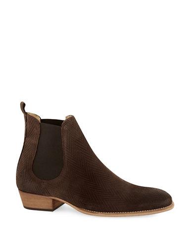 Topman Suede Printed Chelsea Boots-BROWN-43