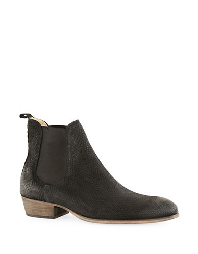 Topman Suede Printed Chelsea Boots-BLACK-45