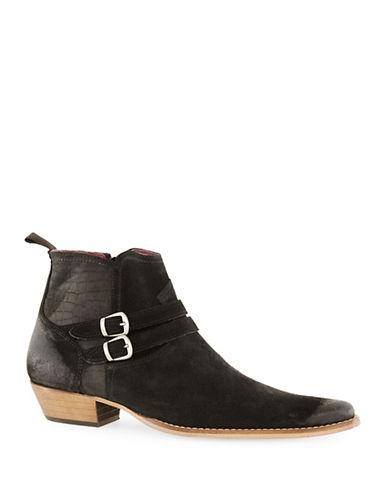 Topman Mist Suede Buckle Boots-BLACK-EU 41/US 8