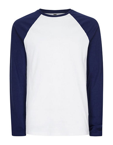 Topman Raglan Long Sleeve T-Shirt-BLUE-Small