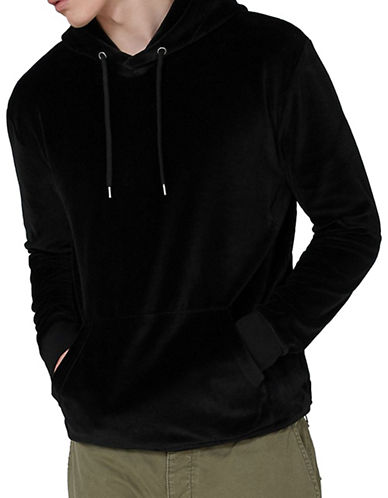 Topman Classic Fit Velour Embroidered Hoodie-BLACK-Large