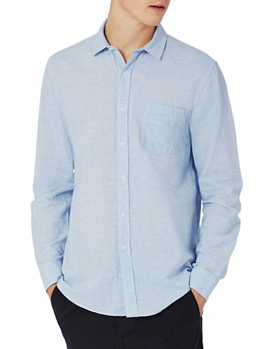 Topman Textured Linen-Blend Sport Shirt-LIGHT BLUE-Medium