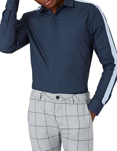 Topman Contrast Stripe Shirt-NAVY-X-Small