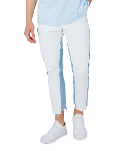 Topman Panel Tapered Jeans-WHITE-30 Short