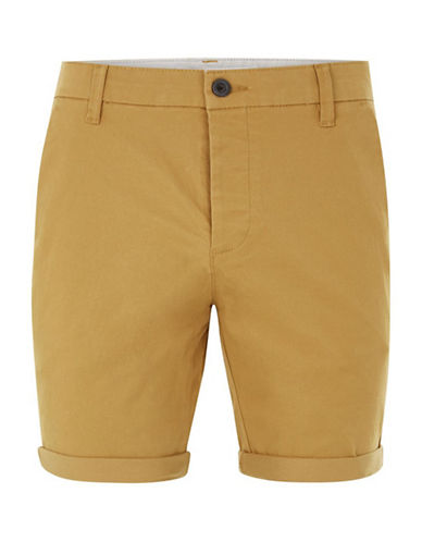Topman Owen Stretch Skinny Chino Shorts-YELLOW-28