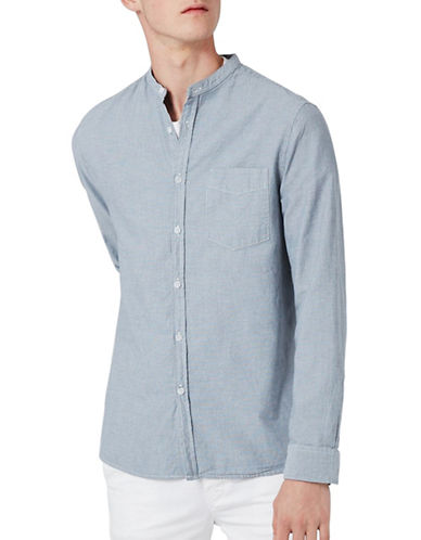 Topman Stripe Stand Collar Shirt-BLUE-Large