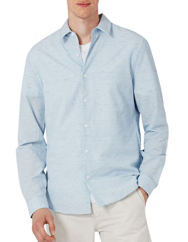 Topman Melange Sport Shirt-BLUE-Medium