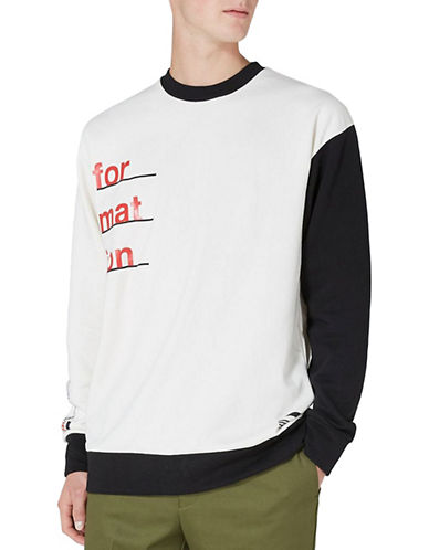 Topman Printed Sweatshirt-WHITE-Large