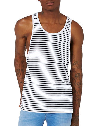 Topman Striped Tank Top-BLUE-Medium 89421903_BLUE_Medium