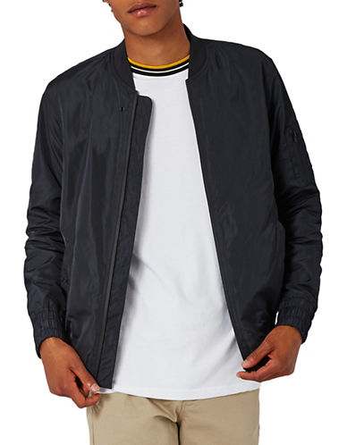 Topman Solid Bomber Jacket-NAVY BLUE-Small