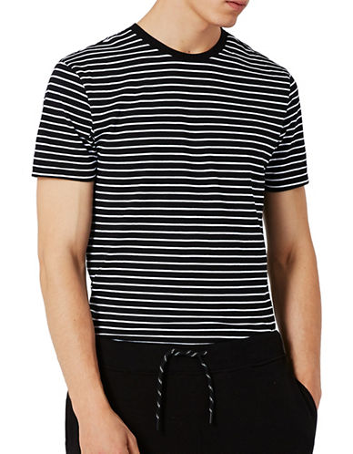 Topman Stripe T-Shirt-BLACK-Small