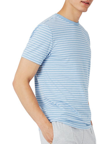 Topman Stripe Slim Fit T-Shirt-LIGHT BLUE-Medium