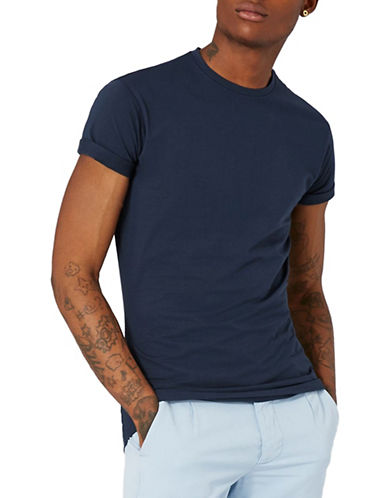 Topman Ultra Muscle Fit Roller T-Shirt-DARK BLUE-Medium