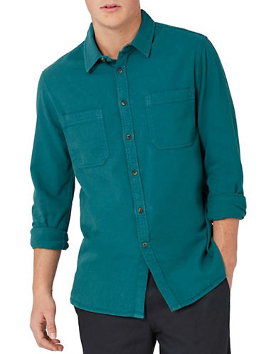 Topman Washed Twill Sport Shirt-GREEN-X-Small