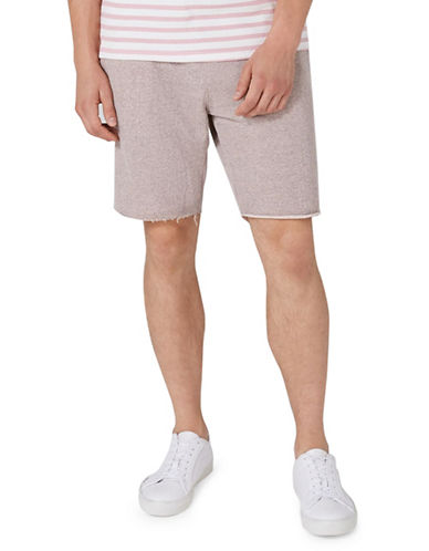 Topman Raw Edge Jersey Shorts-PINK-Small
