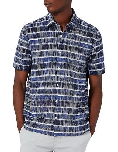 Topman Batik Stripe Short Sleeve Shirt-BLUE-X-Small