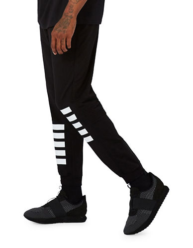 Topman AAA Stripe Jogger Pants-BLACK-Medium 89496276_BLACK_Medium