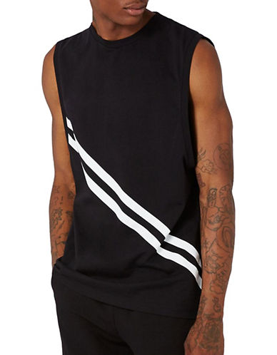Topman AAA Stripe Tank-BLACK-Medium