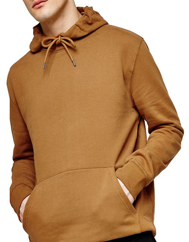 Topman Classic Fit Overhead Hoodie-BROWN-Medium