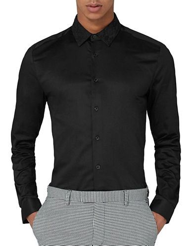 Topman Slim Fit Lace Shirt-BLACK-Medium