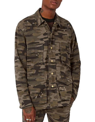 Topman AAA Camouflage Distressed Field Jacket-MULTI-COLOURED-Large