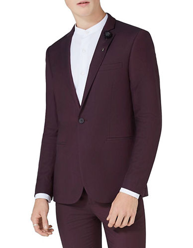 Topman Skinny Fit Suit Jacket-BURGUNDY-36