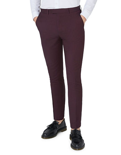 Topman Skinny Fit Dress Pants-BURGUNDY-28 Short