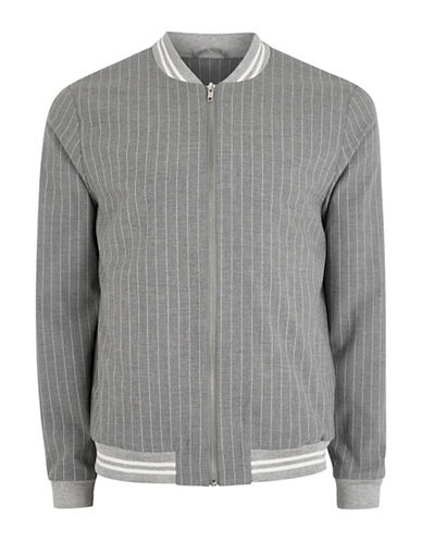 Topman Bailey Pinstripe Bomber Jacket-GREY-Large