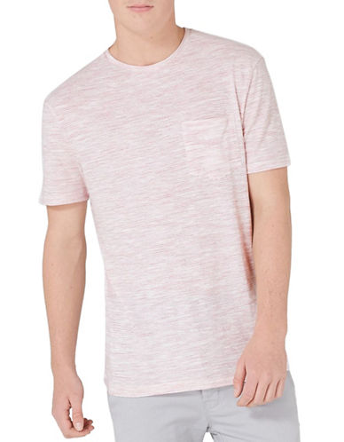 Topman Textured Chest Pocket T-Shirt-RED-X-Small