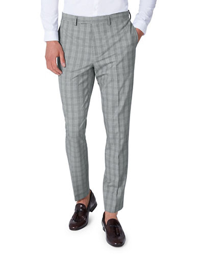 Topman Check Muscle Fit Suit Trousers-GREY-32 Short