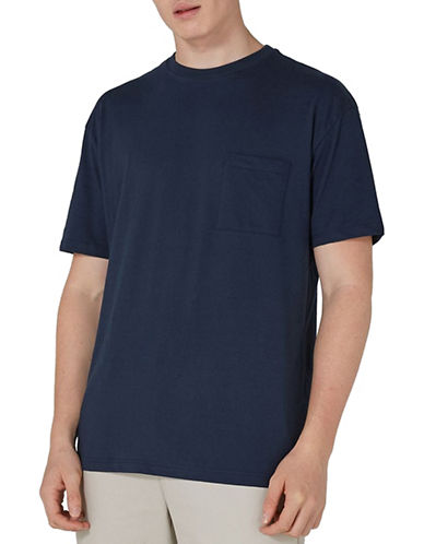 Topman 90s Oversized Pocket T-Shirt-BLUE-Large